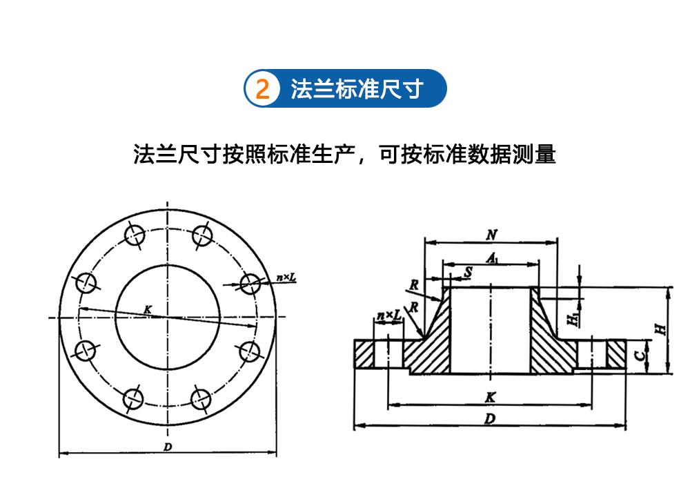大口径带颈对焊法兰型式图